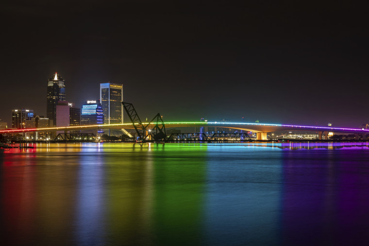 The Acosta Bridge is illuminated with rainbow lighting in honor of Pride Month, in downtown Jacksonville, Fla., on June 7, 2021.
