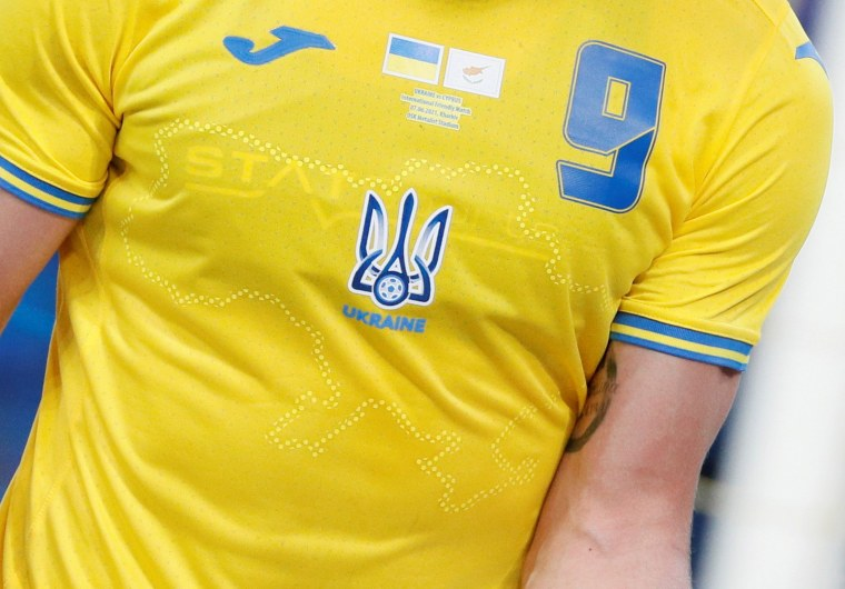 Image: Ukraine's Roman Yaremchuk wears the newly unveiled national team jersey emblazoned with a map of Ukraine that includes Crimea during an international friendly match against Cyprus in Kharkiv, Ukraine