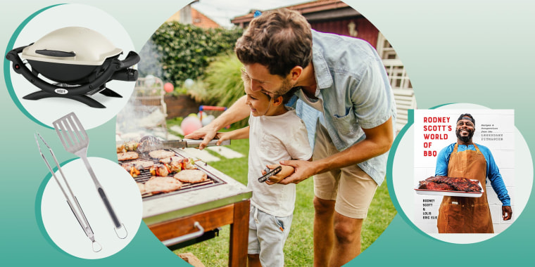 Father and Son grilling in their backyard together and images of different grilling products you can buy dad, for Fathers Day