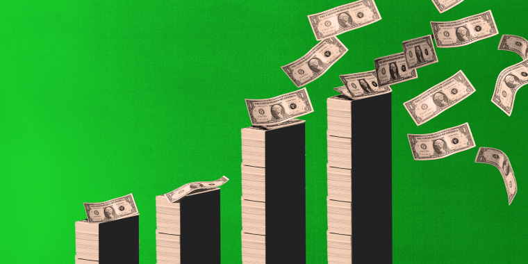 Photo illustration: Stacks of money increasing in height.