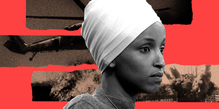 Photo illustration: Image of Representative Ilhan Omar against strips showing images of war and destruction.