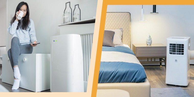Illustration of a Woman sipping coffee next to her portable air conditioner and a portable air conditioner in a bedroom. See the best portable air conditioners on sale. Shop deals on portable air conditioners from Walmart, Lowes and more to stay cool this