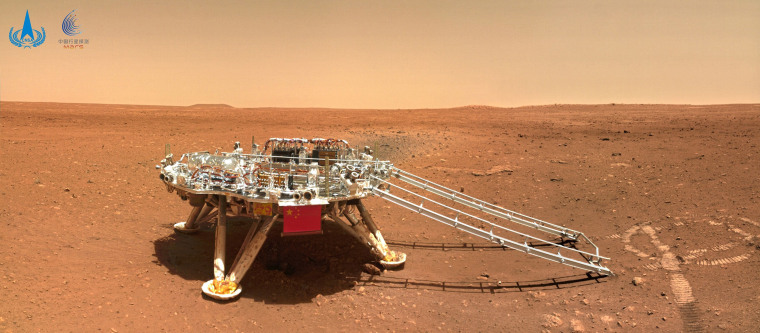 Image: An image taken by China's Zhurong Mars rover showing the landing platform on the surface of Mars,