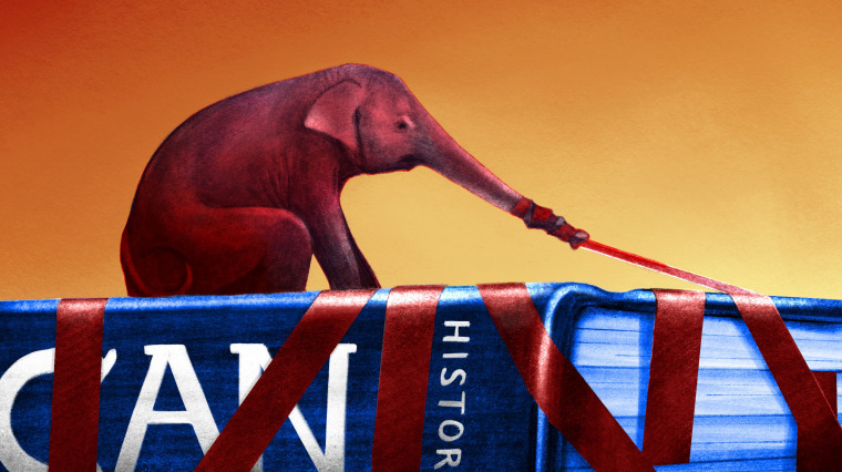 Illustration of an elephant pulling red tape over a history textbook.