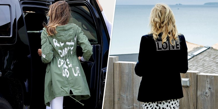 Then-First Lady Melania Trump on June 21, 2018 at Joint Base Andrews, Md., and First Lady Jill Biden, at Carbis Bay, in Cornwall, England on June 10, 2021.