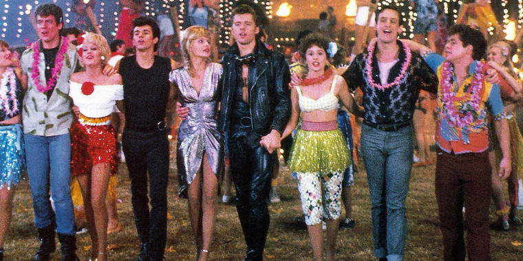 GREASE 2, from left: Alison Price, Christopher McDonald, Lorna Luft, Adrian Zmed, Michelle Pfeiffer,