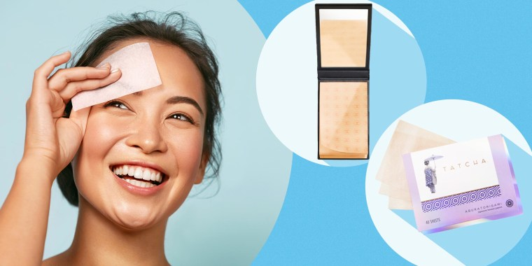 Smiling woman using oil blotting paper, Tatcha Aburatorigami Japanese Blotting Papers and Chanel Paper Matifiant de Chanel