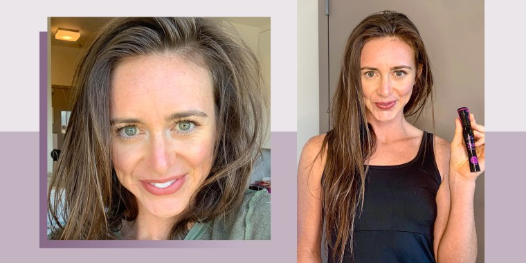 Two images of Katie Jackson using the new Essence Mascara