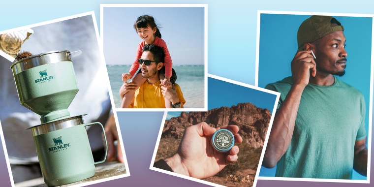 Illustration of a Man wearing air pods, a man pouring coffee mixture in a maker, a father with his daughter on his shoulders at the beach and a hand holding a sample cologne