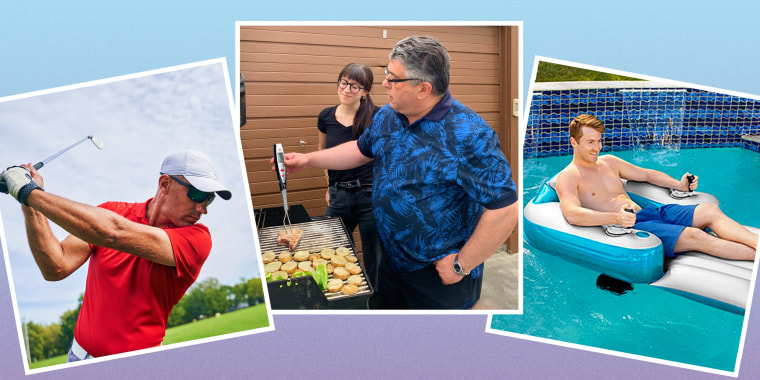 Daniella Musacchio and her dad bqqing with their Sharper Image thermometer, Man floating on a pool with a motorized pool float, and a dad golfing with sunglasses
