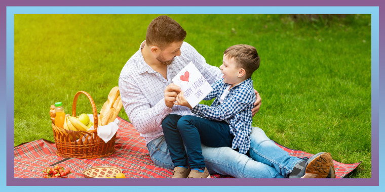 Father and Son on Fathers day having a picnic