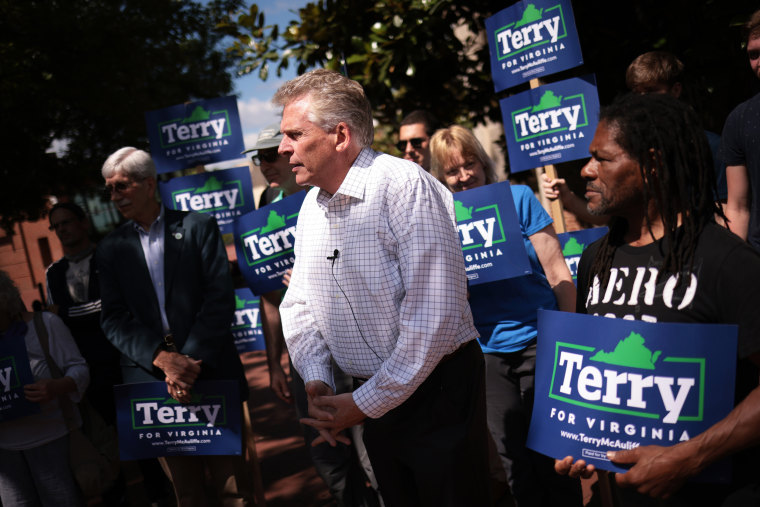 Former Virginia Gov. Terry McAuliffe speaks at a campaign event on June 4, 2021, in Charlottesville.