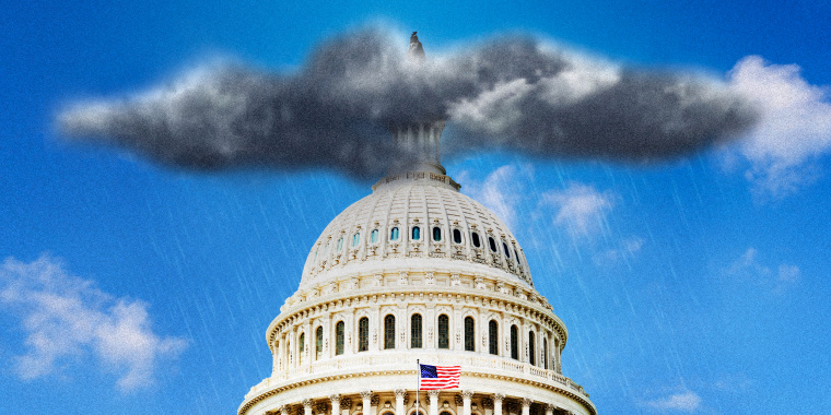 Photo illustration of a dark, stormy rain cloud over the Capitol in Washington.
