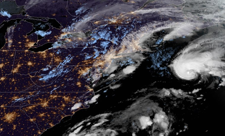 Image: A satellite image showing Tropical Storm Bill approaching the U.S. east coast