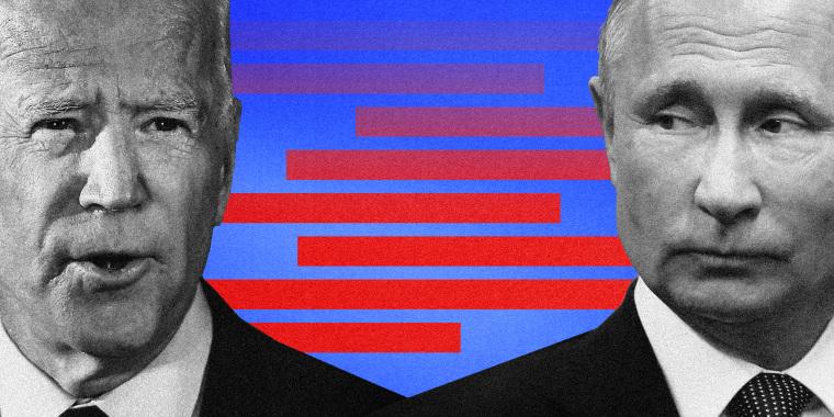 Illustration of President Joe Biden and Russian President Vladimir Putin.