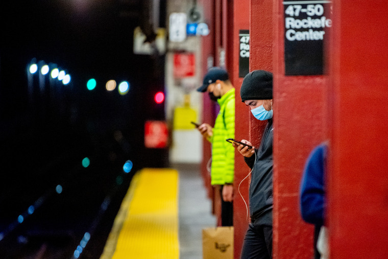 Image: Commuters waits for the train in New York City on April 6, 2021.