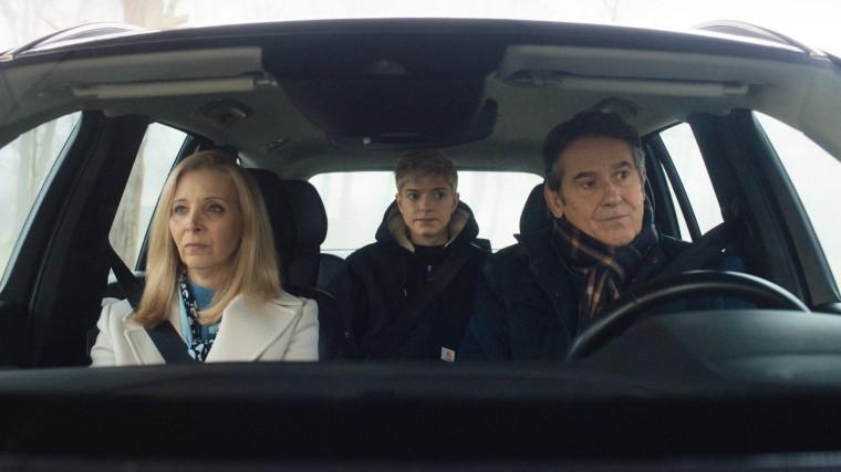 "Lisa Kudrow, Mae Martin and Adrian Lukis in a season two episode of Netflix's \""Feel Good.\"""