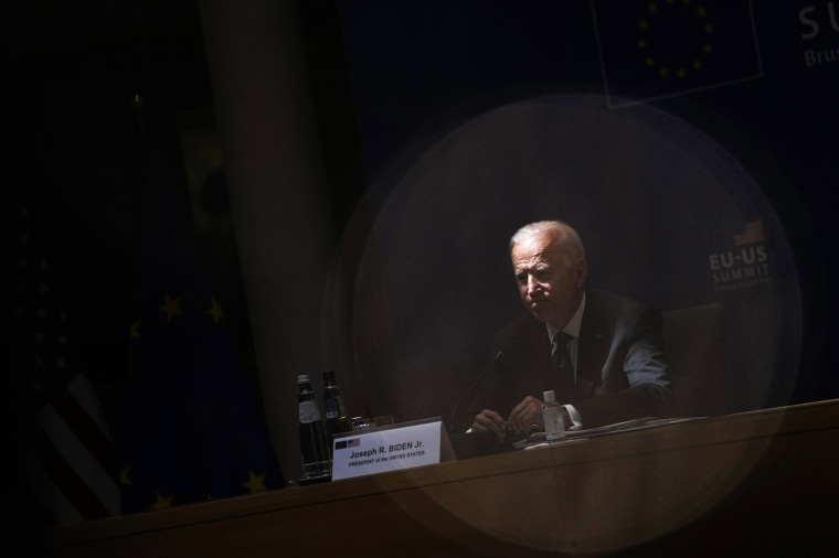 President Joe Biden listens to comments during the EU-US summit at the European Council building in Brussels on June 15, 2021.