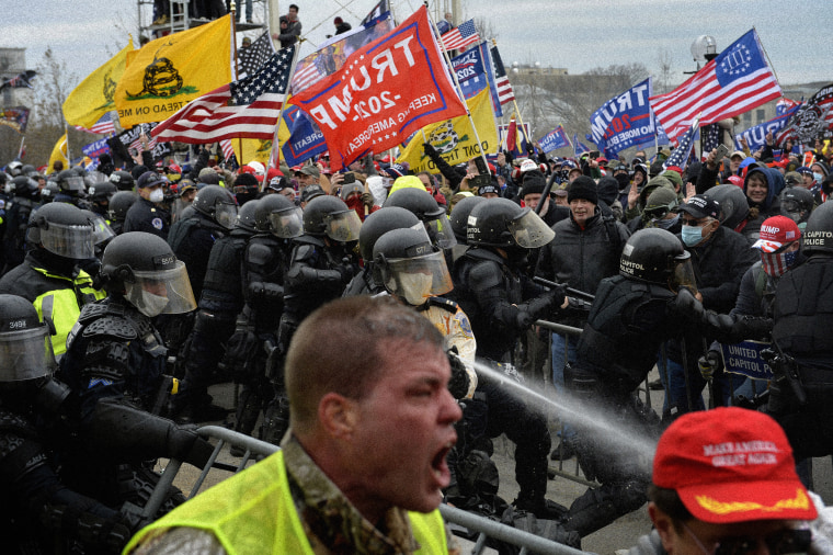 Image: Rioters clash with police and other security personnel at the Capitol in Washington on Jan. 6, 2021.