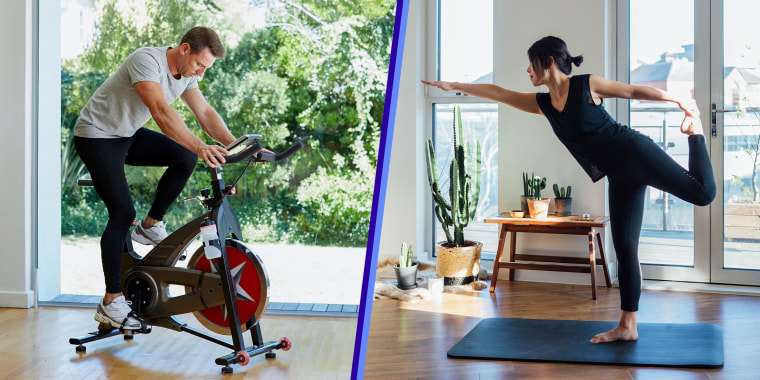 Split of a Young woman doing yoga exercise at home and Man working out on exercise bike at home. Shop fitness deals from Amazon Prime Day 2021 for all your workout needs on home gym equipment like treadmills and stationary bikes, activewear and more.
