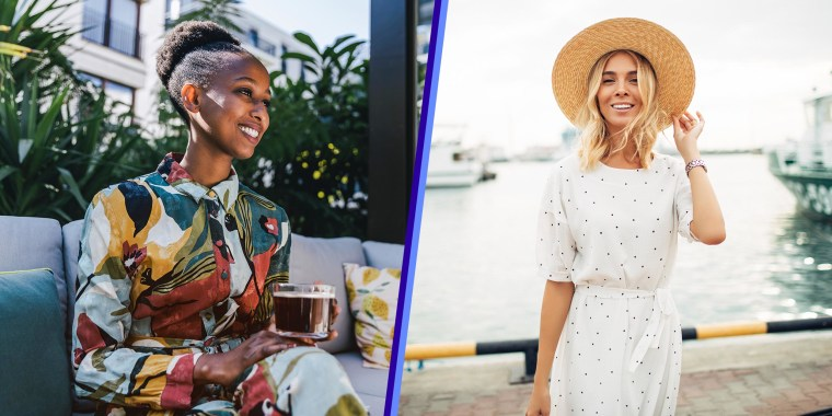 Split image of a Woman sitting on couch in garden drinking black coffee and a Woman wearing a sun hat and white dress