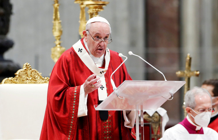Pope Francis leads the Pentecost Mass at St. Peter's Basilica at the Vatican on May 23, 2021.