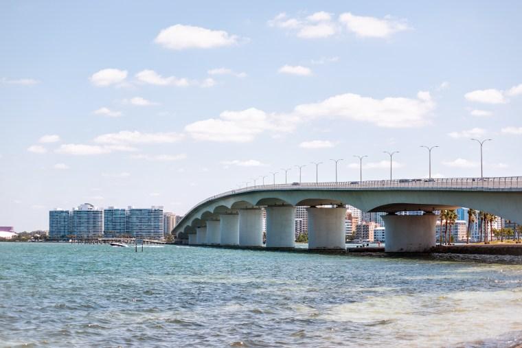 John Ringling causeway bridge in Sarasota, Fla., on April 28, 2018.