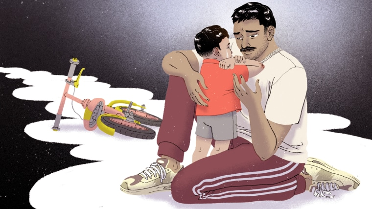 Illustration of a crying child who fell off his bike being comforted by his father.