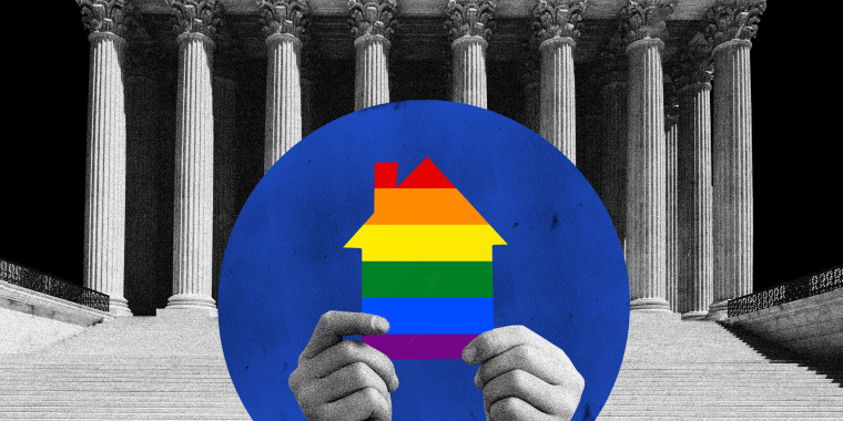Photo illustration: Two hands hold a cut-out house with the gay pride flag colors against the Supreme Court in the background.