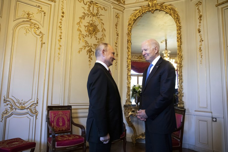 Image: President Joe Biden and Russian President Vladimir Putin meet during the U.S.-Russia summit at Villa La Grange on June 16, 2021 in Geneva, Switzerland.