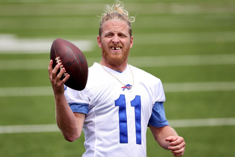 Cole Beasley #11 of the Buffalo Bills during OTA workouts at Highmark Stadium on June 2, 2021 in Orchard Park, New York.