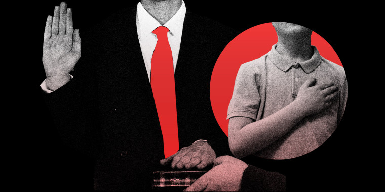Photo illustration: An adult and a child taking oaths.