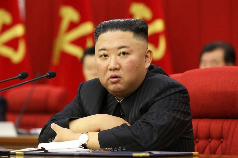 North Korean leader Kim Jong Un attends a meeting in Pyongyang on June 18, 2021.