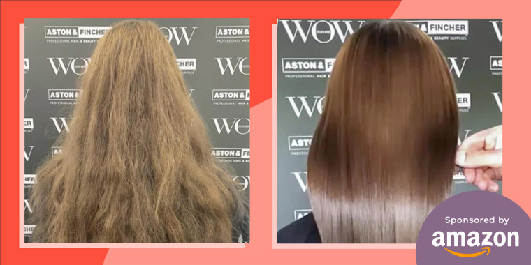 Before and after images of a Woman with frizzy to shiny hair