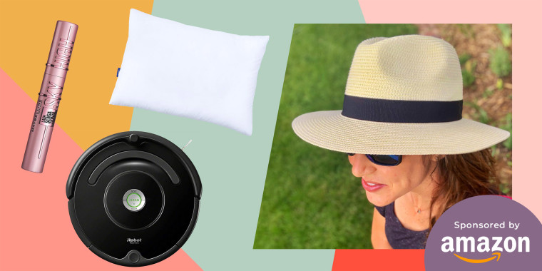 Illustration of Katie Jackson wearing a sun hat, and a Pillow, Roomba and Mascara still on sale on Amazon, after Amazon Prime Day
