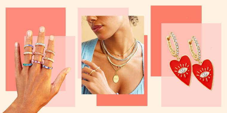Image of earrings, hand with rings on it and a Woman wearing layered necklaces from Baublebar