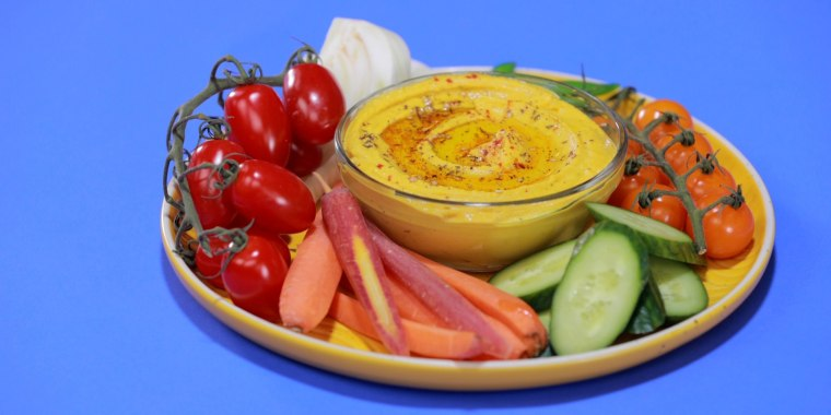 Make a fresh, vibrant hummus platter for your next picnic.