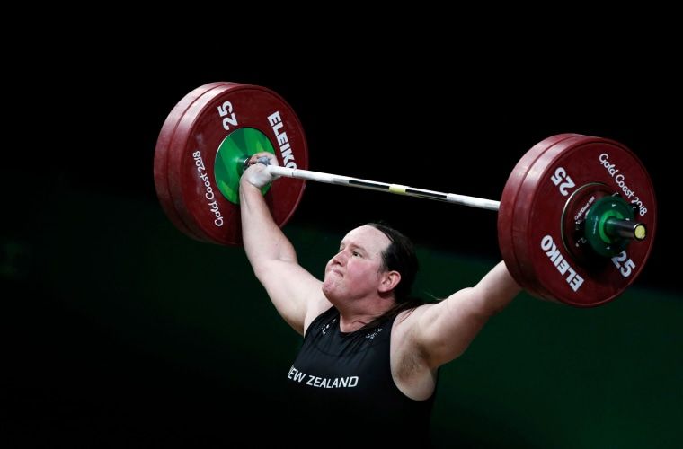 New Zealand's Laurel Hubbard competing during the women's +90kg weightlifting final at the Gold Coast Commonwealth Games in Gold Coast, Australia, on April 9, 2018.