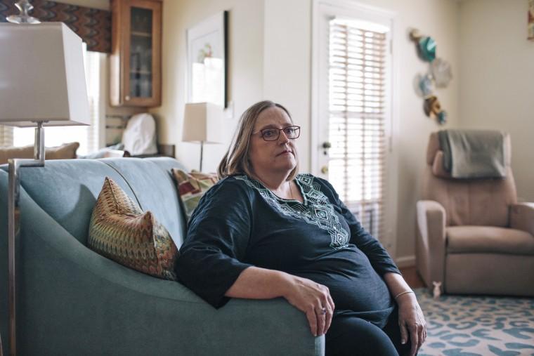 Patty Nece, who has progressive scoliosis, at her home in Alexandria, Va.
