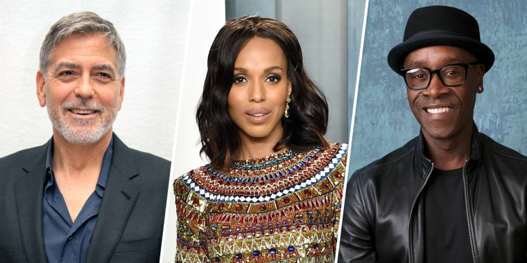 George Clooney, Kerry Washington, and Don Cheadle.
