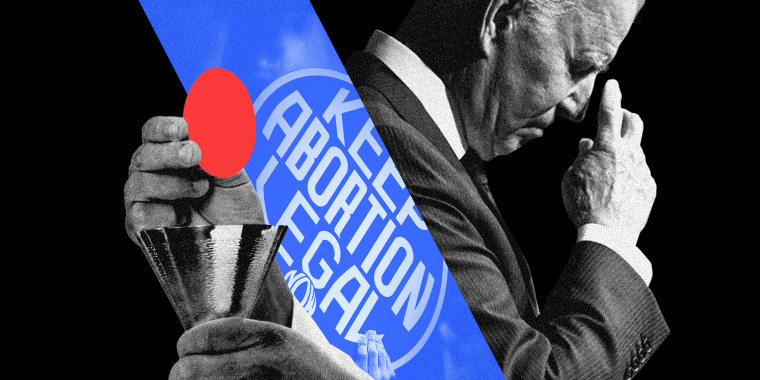 """Photo illustration: A sign with the text,\""""Keep abortion legal\"""" between images of a priest's hand offering communion and President Joe Biden praying."""