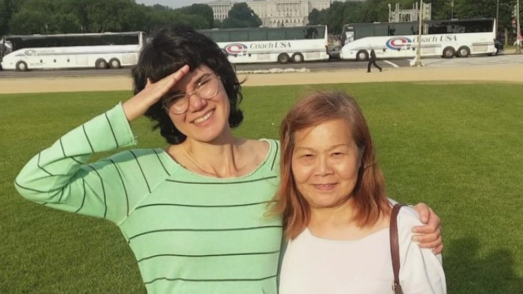 Jenny Ball and her mother, Emily Lu, in Washington, D.C.