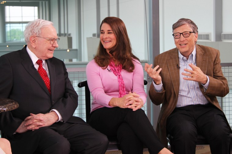 "Warren Buffett, Melinda Gates and Bill Gates appear on CNBC's \""Squawk Box\"" on May 5, 2015."
