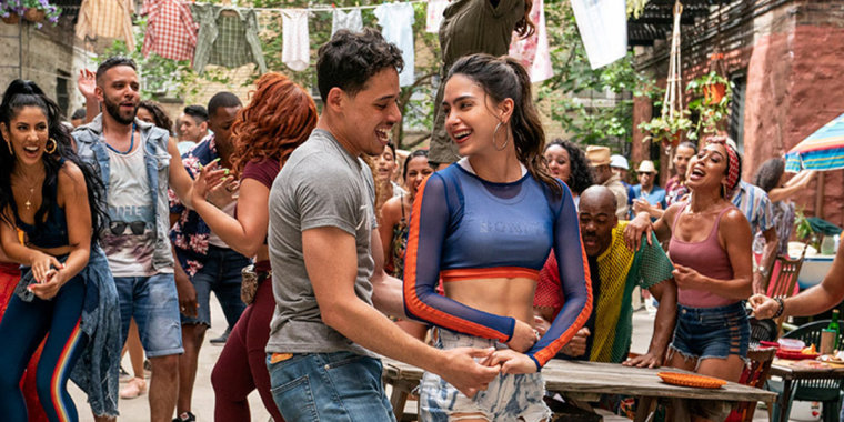 """Keomi Key, Melissa Barrera, and Anthony Ramos in, """"In the Heights."""""""