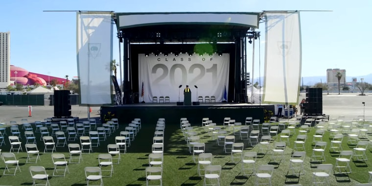 David Keene, former president of the NRA, addresses over 3,000 empty chairs representing the estimated number of high school students killed by gun violence before their 2021 graduation