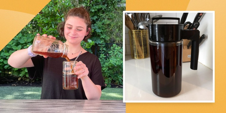 Image of Editor Zoe Malin pouring ice coffee into a glass outside and a cold brew maker from Amazon. Here are the best cold brew coffee makers to try in 2021. Shop cold brew coffee makers from Ninja, KitchenAid, OXO and more to make your own at home.
