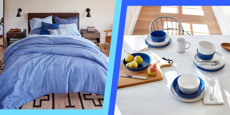Two images of a bedroom and kitchen from the new Walmart and Gap Home Collaboration. The groundbreaking Gap Home collection is available exclusively at Walmart. The Gap home goods line includes sheets, pillows, plates, bath items and more.