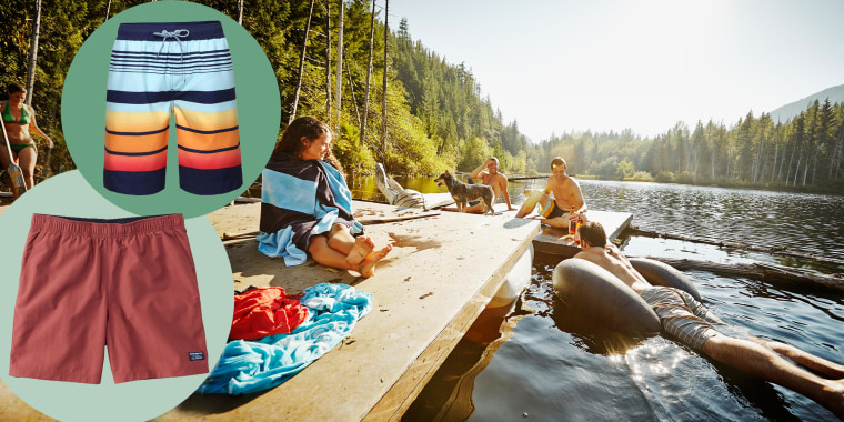 Group of friends hanging out on floating dock and two pairs of swim trunks for men. These are the best men's swim trunks that are affordable in 2021. Shop swim trunks including Speedo, Sonoma, and Goodfellow from Target, Kohl's and more.