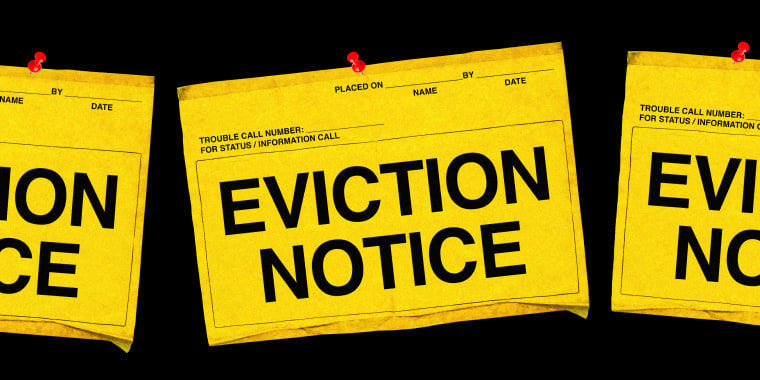 Illustration of a row of eviction notice signs.