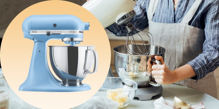 Woman Using a Stand Mixer in the Kitchen and a KitchenAid Stand Mixer